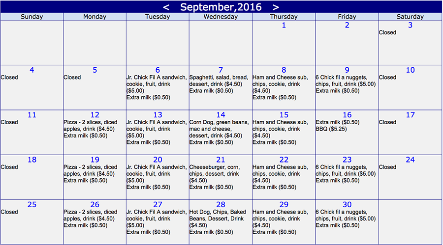 Online lunch ordering for September