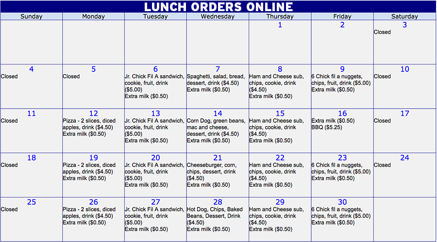 December lunch orders