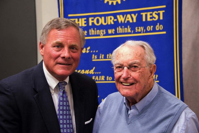 Senator Burr congratulates M.O. Owens